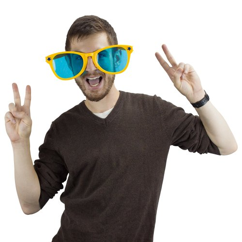 Yellow Jumbo Sun Glasses By Pudgy Pedro's Party - Sunglasses Extra Large