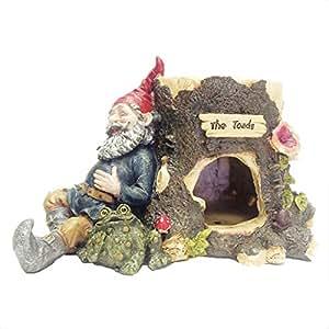"""Gnomos de sapo hueca–gnome sapo casa con su mascota gnomo de jardín Estatua 12""""H"""