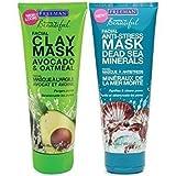 Clay Mask Freeman Freeman Facial Mask Variety Bundle, 6 fl oz, Pack of 2, 1 Tube Avocado & Oatmeal Facial Clay Mask and 1 Tube Dead Sea Minerals Facial Anti-Stress Mask