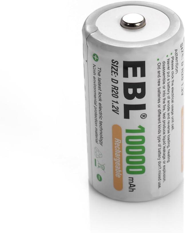 EBL Rechargeable D Batteries 10,000mAh High Capacity Lasting Rechargable Batteries 8 Counts