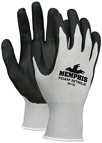 Memphis Economy Foam Nitrile Gloves, Large, Gray/Black, 12 Pairs