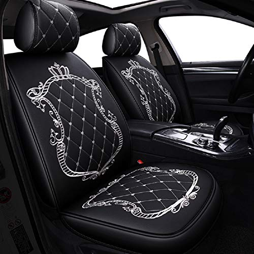 Skysep Crown Car Seat Covers, Fully Surrounded Unisex Seat,Winter Leather Seats Car,PU Leather And 3D Breathable Fabric (Black-white):