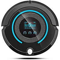 TechComm A338 Robotic Vacuum Cleaner with Wet and Dry Cleaning Modes, LCD Touch Screen, Scheduled Cleaning and Remote Control