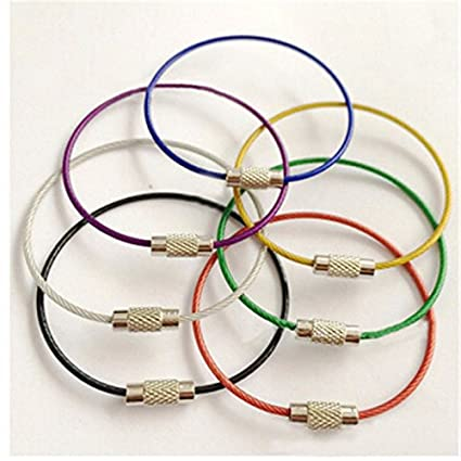 Amazon.com   7Pcs Lot Stainless Steel Wire Keychain Cable Rope Key Holder  Keyring 7 Different Colors Car Key Chain Rings For Women Men   Office  Products 869b0e186