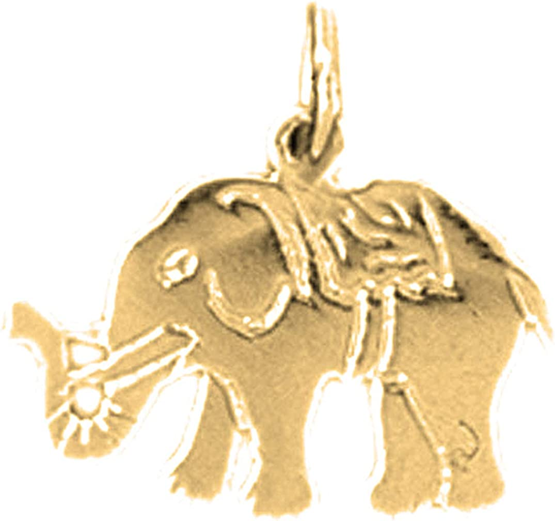 14 mm Jewels Obsession 14K Yellow Gold Elephant Pendant