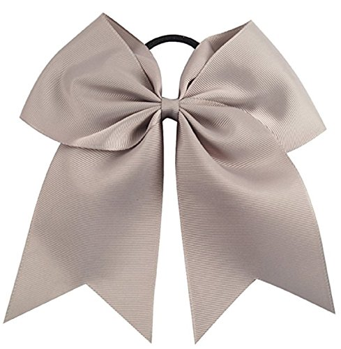 Kenz Laurenz Cheer Bows Grey Cheerleading Softball - Gifts for Girls and Women Team Bow with Ponytail Holder Complete Your Cheerleader Outfit Uniform Strong Hair Ties Bands Elastics (1) -