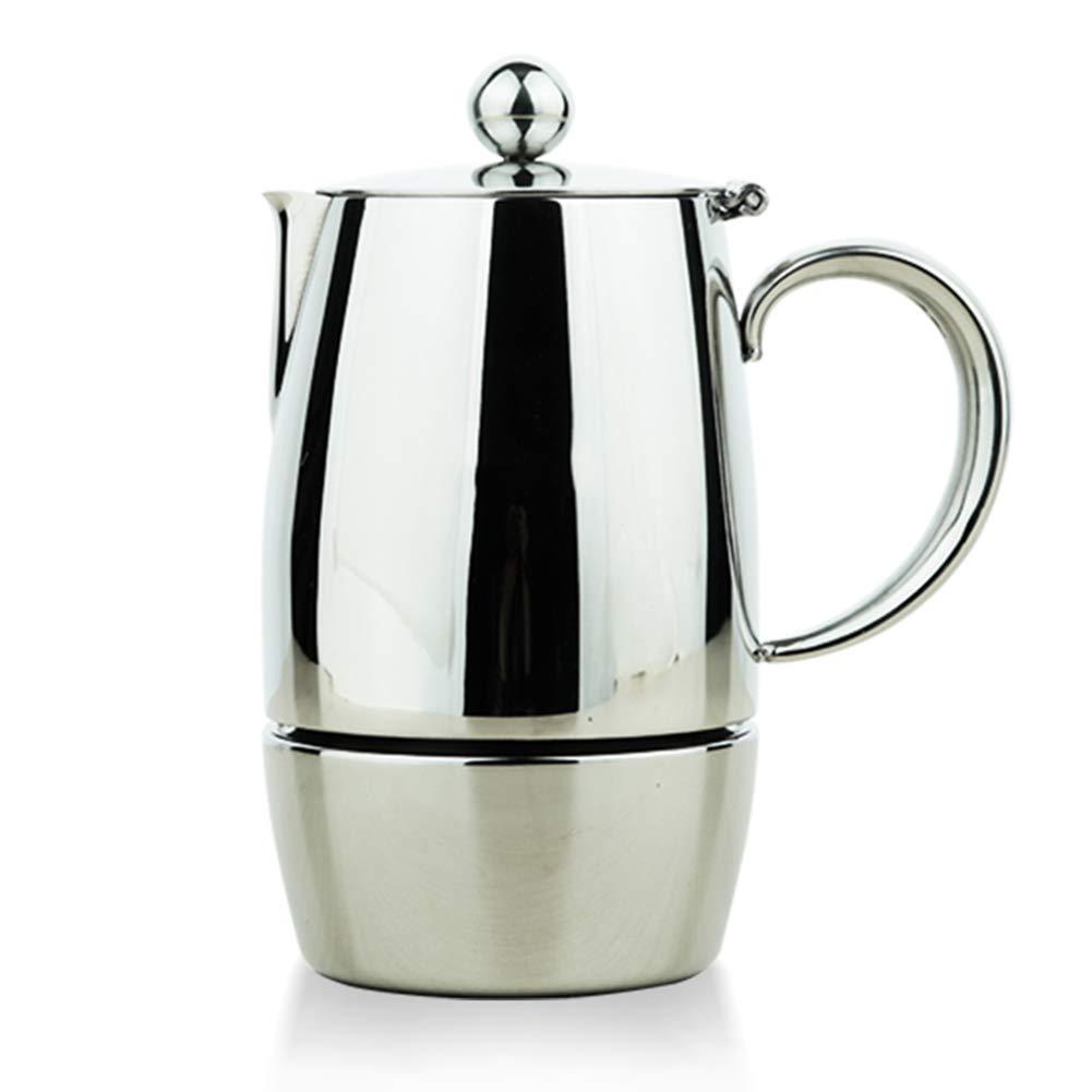 Moka鍋ステンレス鋼コーヒーポットホームエスプレッソコーヒーマシン電磁調理器、取り外しが簡単で、掃除が簡単、ホームオフィスレストラン用 6 cups  B07NW2QM9J