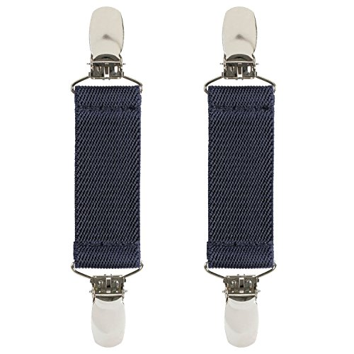"""Hold'Em 1 Boot Straps Elastic Extra Strong Metal Clip Made in USA Comfortable and Easy to Use Keeping Pants Smoothly and Nicely Tucked in Boots - 4"""" Inch -Navy"""