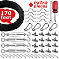 smartRSQ The Complete String Light Hanging Kit with 164 FT Coated Stainless Steel Cable | Heavy-Duty & Easy to Install Guide Wire Globe String Light Suspension Kit for Indoor and Outdoor
