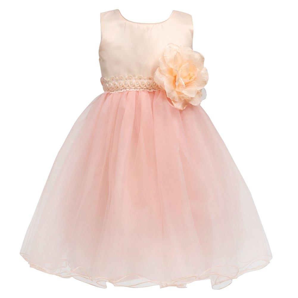 Merry Day Flower Baby Girl Petals Dress Toddler Tulle Wedding Pageant Party Dresses Champagne 1-2 Years