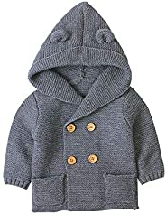 Isyunen Fleece Jacket HoodedBaby Boys Girls Coat Warm Outerwear Winter Clothes Kids Unisex-Baby Classic Style