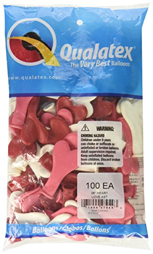Qualatex 6 Inch Latex Heart Balloons, Love Assortment (100 Pack)