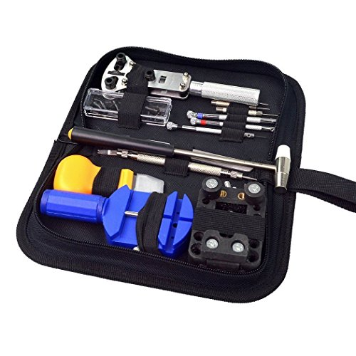 SoLed Portable 13 Pcs Watch Repair Tool Kit + a Hammer with Black Case - Eyeglasses Fix On You Can Scratches