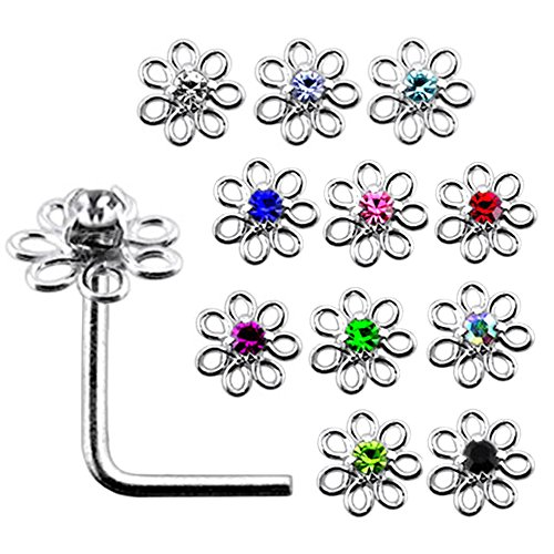 20 Pieces Box Set of Mix Colored Jeweled Filigree Flower Top 22 Gauge 925 Sterling Silver L Shape Nose Stud