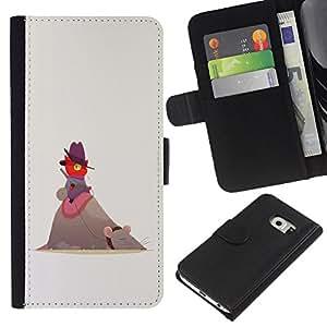 iBinBang / Flip Funda de Cuero Case Cover - Red Cat gris rata Grandes Amigos Gorra de montar - Samsung Galaxy S6 EDGE
