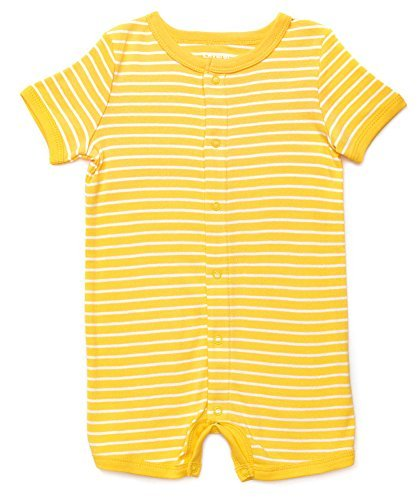 Short Sleeve Snap Up Romper 100% Cotton (12-18 Months, Yellow & White)