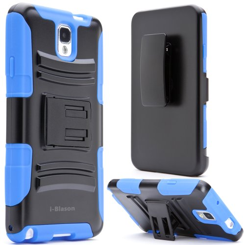 i-Blason Samsung Galaxy Note 3 Note III N9000 Prime Series Dual Layer Holster Case with Kickstand and Locking Belt Swivel Clip (Blue)