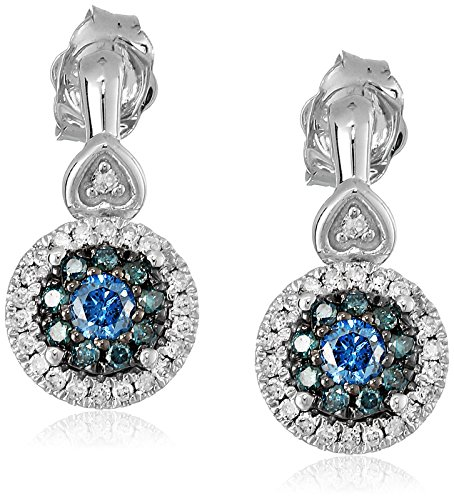 Gold Earrings Diamond Heart Circle (10k White Gold Blue and White Diamond Earrings (2/5 cttw, I-J Color, I2-I3 Clarity))