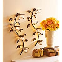 JaipurCrafts Antique Iron Decorative Wall Sconce with Clear Glass and Free Tealights