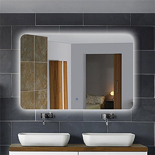 DECORAPORT 36 Inch 28 Inch Horizontal LED Wall Mounted Lighted Backlit Vanity Bathroom Silvered Mirror Large Cosmetic Illuminated Mirror with Touch Button (A-NO1) For Sale