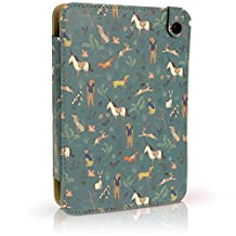 iGadgitz 'Designer Collection' Blue Mystery Forest Pattern PU Leather Folio Case Cover for Kobo Touch 2, Kobo Glo HD 2015, Kobo Aura & Kobo Aura Edition 2 with Hand Strap & Viewing Stand