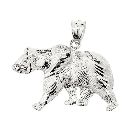 Animal Kingdom 925 Sterling Silver Grizzly Bear - Bear Pendant Sterling