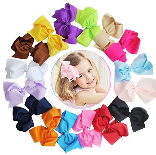 16pcs 6in Baby Girls Big Bow Clip- Boutique Hair Bows For Toddlers Kids Children Alligator Hair Clips