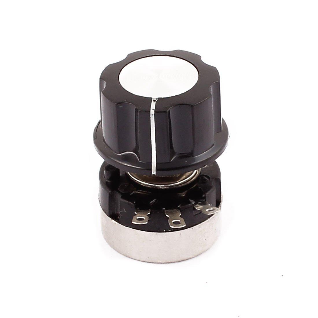 sourcingmap® RV24 B504 Rotary Carbon Film Potentiometer 500K Ohm Adjustable Resistance w Cap US-SA-AJD-202803