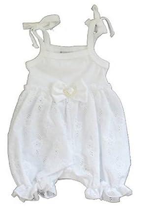 7f604ba2eb5 Amazon.com  Haute Baby Bella Mia White Eyelet Bubble Romper  Clothing