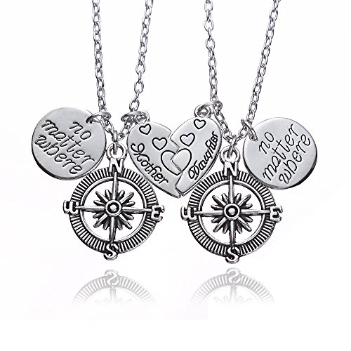 2pcs Mother Daughter No Matter Where Compass Split Broken Heart Double Necklace Set Family Gift for (Double Necklace Set)