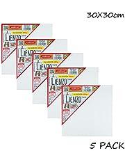 Starplast Set 5 Lienzos Artísticos, Canvas, de Algodón, 280 gr, 30x30 cm para Artistas Profesionales, Aficionados, Principiantes, Estudiantes, etc, Blanco