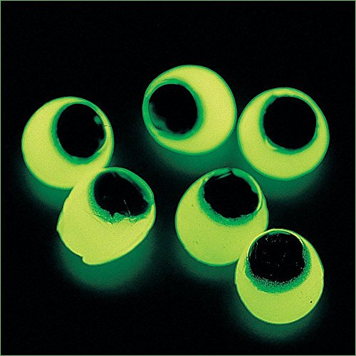 Fun Express Vinyl Glow-in-The-Dark Sticky Eyeballs | 2-Pack (96 Count) | Great for Halloween Costumes, Decorations, and Toys -