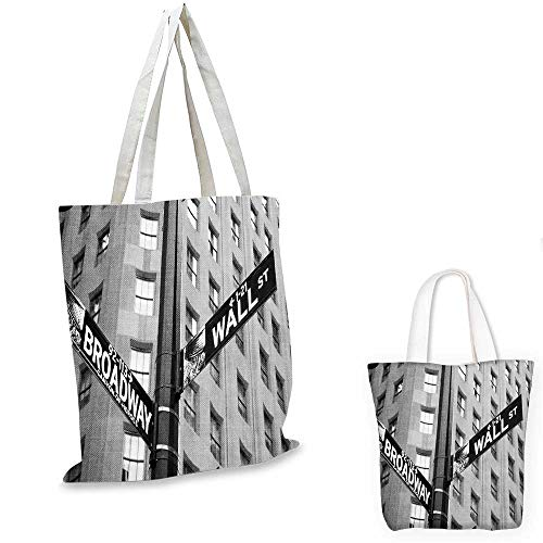 New York canvas messenger bag Street Signs of intersection of Wall Street and Broadway Finance Destinations travel shopping bag Black and White. - Broadway Canvas Messenger