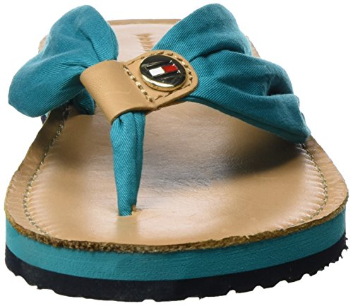 Tommy Hilfiger M1285onica 14d3, Sandales Bout Ouvert Femme Bleu (Turkish Stone)