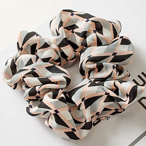 Spring Plaid Vintage Black & White Check Ponytail Holder Scrunchies Ring Elastic Hair Tie for Women & Girl Hair Accessoires 8