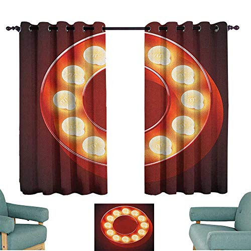 (Letter O Bedroom balcony living room curtain Entertainment World in Vegas Theme Vintage Casino Nightclub Theater Typeset Home Garden Bedroom Outdoor Indoor Wall Decorations 55