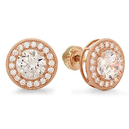 Clara Pucci 3.40 CT Round CUT CZ SOLITAIRE Pave HALO STUD EARRINGS 14K Rose GOLD Screw Back
