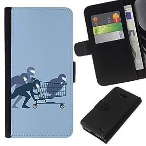 KLONGSHOP // Tirón de la caja Cartera de cuero con ranuras para tarjetas - Funny Ninja Compras - LG OPTIMUS L90 //