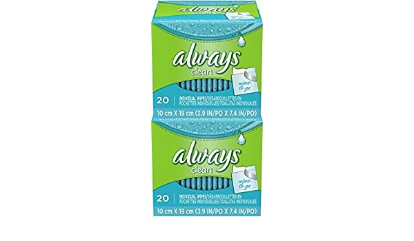 Amazon.com: Always Lightly Scented Wipes-to-Go - 20 ct - 2 pk by Always: Health & Personal Care