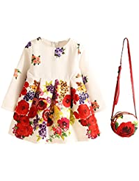 Shiny Toddler Little Girls Floral Printing One-Piece Dress with the Bag