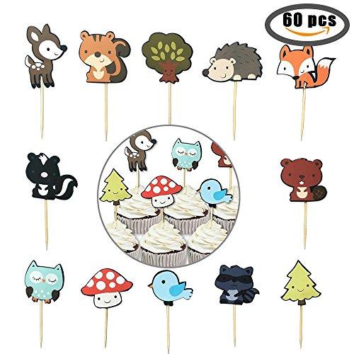 60-pack Cute Zoo Animal et Woodland créatures pour cupcakes Picks, animaux de la jungle pour gâteaux pour enfants Baby Shower fête d'anniversaire Décoration de gâteaux Fournitures