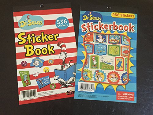 Set of 2 Dr Seuss - CAT in the Hat STICKER Books Over 1000 Total - Motivational READING Rewards TEACHER CLASSROOM - Doctor Dentist (Combo 2 - 1022 Stickers)