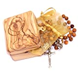 Holy Land Market Olive Wood First Communion Rosary and Box.