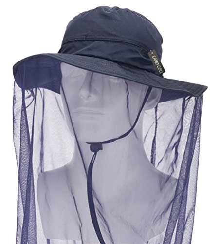 Camo Coll Outdoor Anti-mosquito Mask Hat with Head Net Mesh Face Protection (Navy Blue, One (Camo Bug)