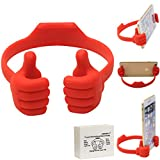 Honsky Cute Fun Thumbs-up Adjustable Flexible Cell Phone Holder Tablet Desk Desktop Stand Cradle for iPad Mini iPhone 7 6 Plus 6s LG Stylo Samsung Galaxy S8 S7 Edge Switch ZTE HTC Motorola, Deep Red
