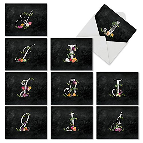 "10 Assorted Note Cards with Envelopes (4"" x 5 ¼""), 'J Chalk and Roses' Blank Greeting Cards, Letter J Stationery Set for Weddings, Baby Showers, Birthdays - NobleWorks #M3794OCB-B1x10 (Note Personalized Cards Letters)"