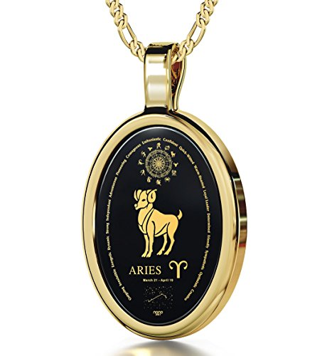 14k Yellow Gold Zodiac Pendant Aries Necklace Inscribed in 24k Gold on Onyx Stone, 18