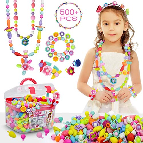 Pop Beads - 500+Pcs DIY Jewelry Making Kit for Toddlers 3, 4, 5, 6, 7 ,8 Year Old, Kids Pop Snap Beads Set to Make Hairband, Necklaces, Bracelets, Rings and Art & Crafts Creativity Toys for Girls Boys
