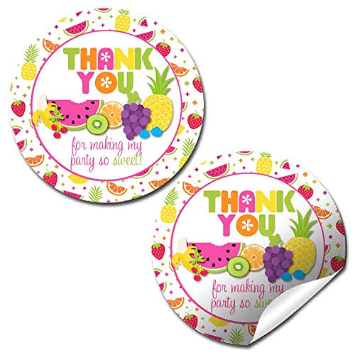 Tutti Fruitti Birthday Party Thank You Sticker Labels, 40 2 Party Circle Stickers by AmandaCreation, Great for Party Favors, Envelope Seals & Goodie Bags