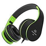 Headphones, Sound Intone Foldable Headphones with Microphone and Volume Control, On-ear Wired Headset for iphone and Android Devices (Black/green)